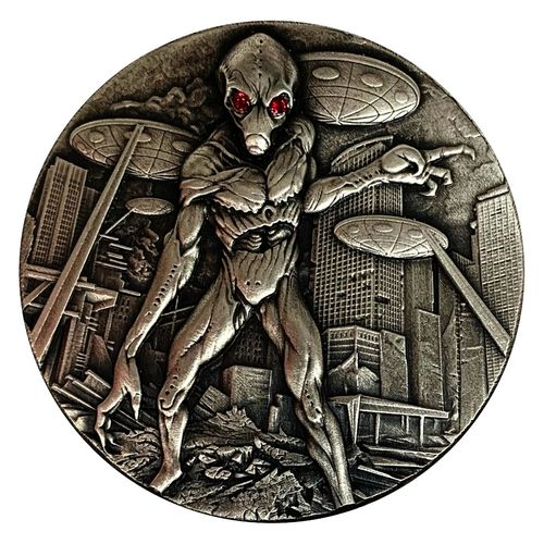 10.000 Francs Alien Invasion High Relief Tschad Chad 2 oz Silber Antique Finish 2018 **