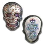 2 oz Silber Skull Totenkopf - Day of the Dead - Dia de los Muertos - Poker Face