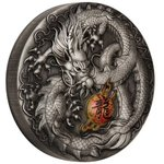 5 $ Dollar Chinese Mythical Creatures Dragon Drache High Relief Tuvalu 5 oz Silber 2019 **