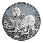1 $ Dollar Australia at Night - Kangaroo - Känguru Black Proof Niue Island 1 oz Silber 2019 **