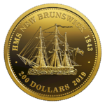 200 $ Dollar HMS New Brunswick 1843 Kanada 1 oz Gold PP 2019