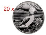 20 x 5 Pfund Pounds Puffin - Papageientaucher Alderney 20 x 1 oz Silber 2019 Tube **