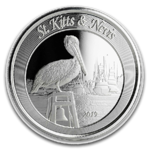 2 $ Dollar EC8 - Eastern Caribbean 8 - Brown Pelican St. Kitts & Nevis 1 oz Silber 2019 **
