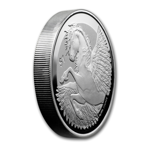 1 $ Dollar Pegasus British Virgin Islands 2 oz Silber 2019 Frosted BU **
