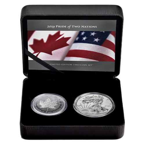 Pride of Two Nations Limited Edition Maple + Eagle Set Kanada / USA 2 x 1 oz Silber Proof 2019 **