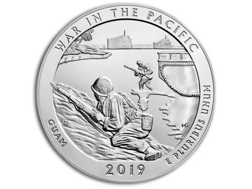 America the Beautiful ATB War in the Pacific National Hist. Park Guam USA 5 oz Unzen Silber 2019 **