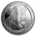 20 $ Dollar BIG FIVE - Rhino - Nashorn Sierra Leone High Relief 2 oz Silber PP 2019 **