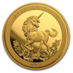 25th Anniversary of Unicorn - Einhorn Restrike China 1 oz Gold Premium Uncirculated 2019
