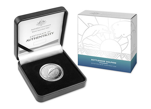 5 $ Dollar Dolphin Series - Bottlenose Dolphin High Relief Proof Australien 1 oz Silber PP 2019 **