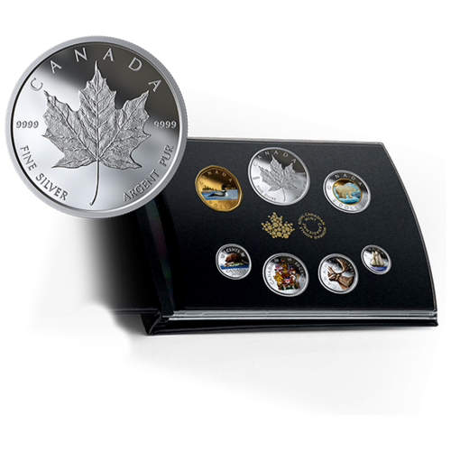 Fine Silver Coloured Proof 6-Coin Set + Maple Leaf Kanada Silber PP 2019 **