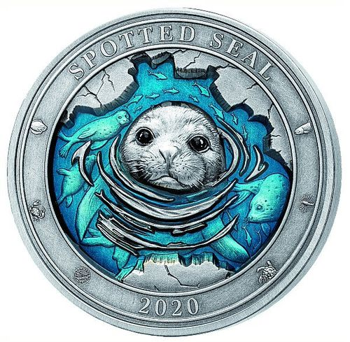 5 $ Dollar Underwater World - Spotted Seal - Robbe High Relief Barbados 3 oz Silber 2020