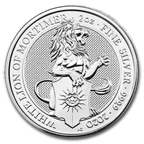 5 Pfund Pounds The Queen's Beasts The White Lion of Mortimer Grossbritannien UK 2 oz Silber 2020 **