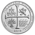 America the Beautiful ATB San Antonio Missions National Hist. Park Texas USA 5 oz Silber 2019 **