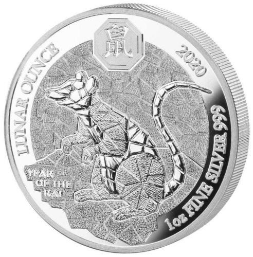 50 Francs Lunar Ounce Year of the Rat - Ratte - Maus Ruanda 1 oz Silber PP 2020