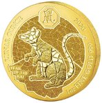 100 Francs Lunar Ounce Year of the Rat - Ratte - Maus Ruanda 1 oz Gold BU 2020