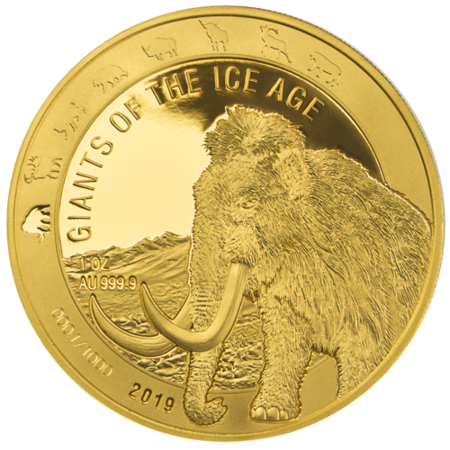 500 Cedis Giants of the Ice Age - Wollmammut - Woolly Mammoth Ghana 1 oz Gold PP 2019