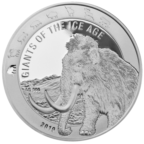 5 Cedis Giants of the Ice Age - Wollmammut - Woolly Mammoth Ghana 1 oz Silber 2019 **