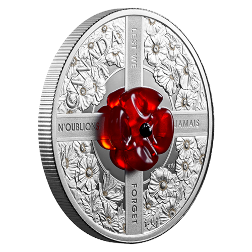 20 $ Dollar Murano Glas - Lest We Forget - Kanada 1 oz Silber PP 2019 **