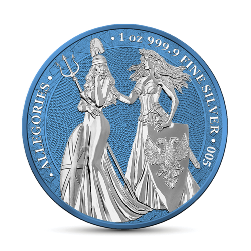 5 Mark The Allegories Britannia & Germania Space Blue 1 oz Silber BU 2019