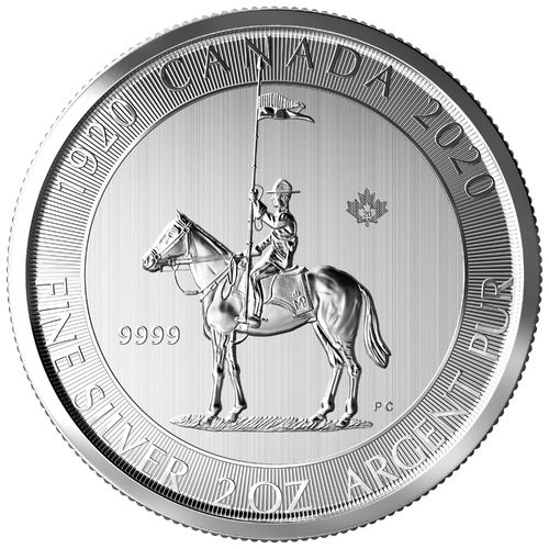 10 $ Dollar 100th Anniversary Royal Canadian Mounted Police - RCMP 2 oz Silber Kanada 2020 **
