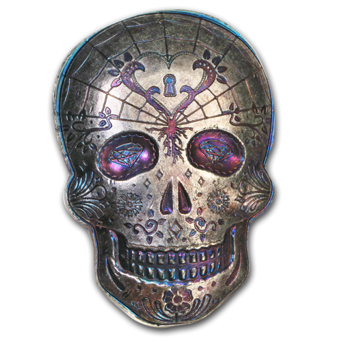 10 oz Silber Skull Totenkopf - Day of the Dead - Dia de los Muertos - Heart