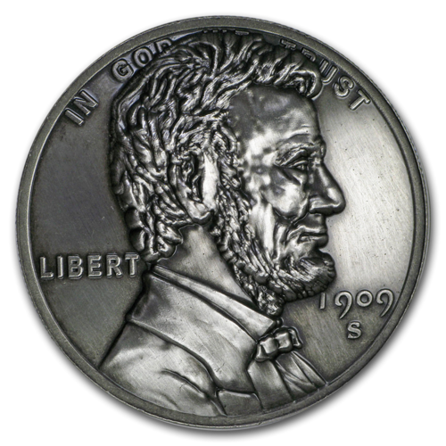 1 oz Silver Round - American Legacy Lincoln Cent Antique Finish High Relief - Incuse 1 oz Silber