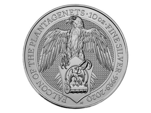 10 Pfund The Queen's Beasts - The Falcon of the Plantagenets Grossbritannien 10 oz Silber 2020 **