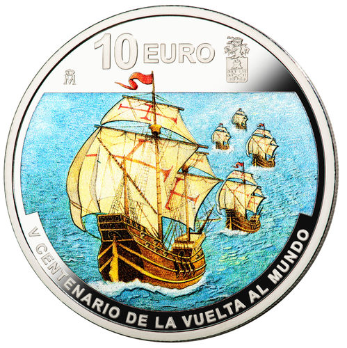 10 Euro 500 Jahre Weltumsegelung - 500 Years Circumnavigation of the World Spanien Silber PP 2019