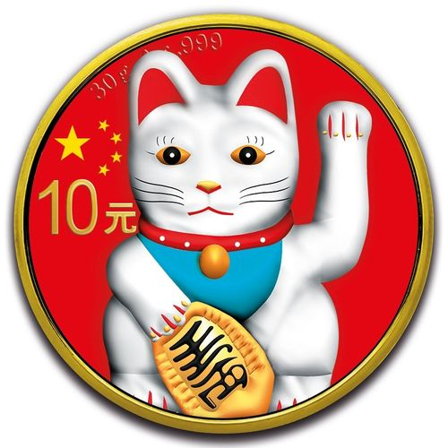 10 Yuan Panda - White Lucky Cat farbig Farbe China 30 Gramm Silber 2019