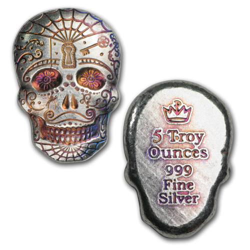 5 oz Silber Skull Totenkopf - Day of the Dead - Dia de los Muertos - Spiderweb