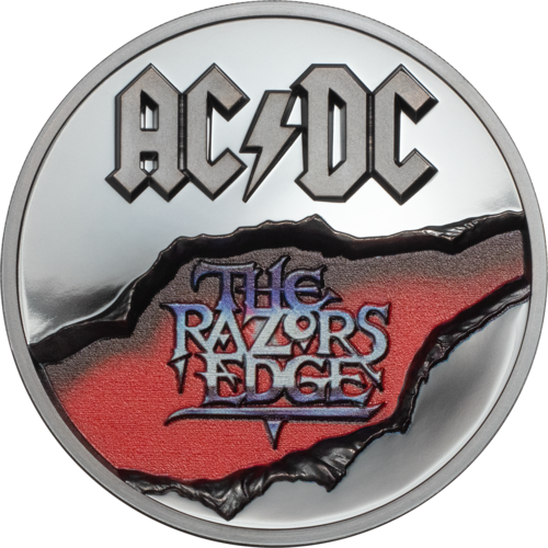 10 $ Dollar AC/DC - The Razors Edge Cook Islands 2 oz Silber Black Proof 2019 **