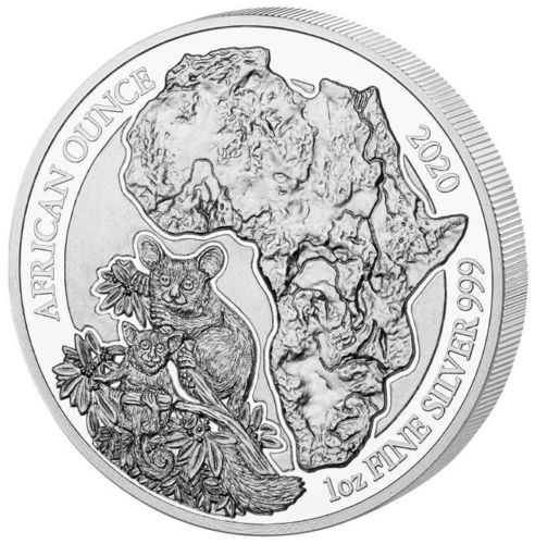 50 Francs African Ounce Galagos - Bushbaby Ruanda 1 oz Silber PP 2020