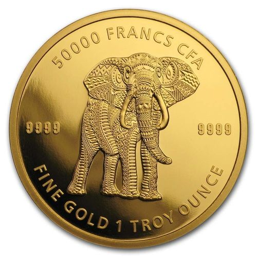 50000 Francs Mandala - Elephant Elefant Tschad Chad 1 oz Gold 2019