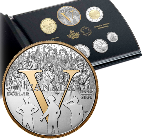 Fine Silver Proof Set 75th Anniversary of V-E Day Kanada Silber PP 2020 **