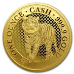 100 Pounds Pfund Cash India Wildlife - The Bengal Tiger St. Helena 1 oz Gold 2019