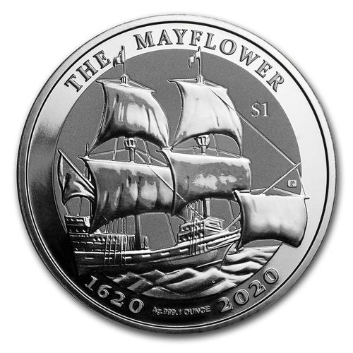 1 $ Dollar 400th Anniversary Mayflower BVI British Virgin Islands 1 oz Silber 2020 **