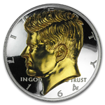 1 oz Silver Round American Legacy JFK John F. Kennedy Gilded Proof High Relief Incuse 1 oz Silber PP