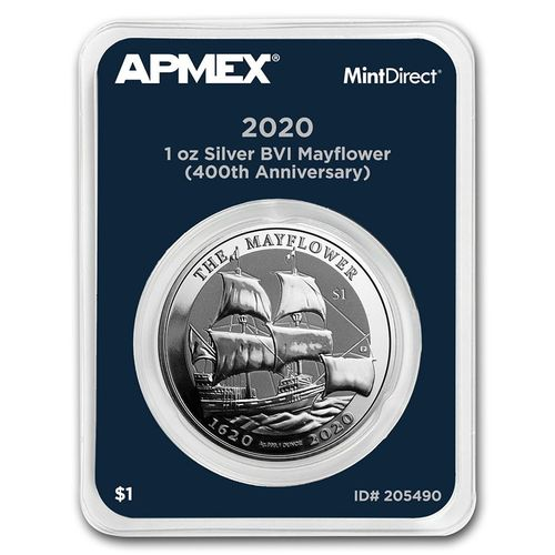 1 $ Dollar 400th Ann. Mayflower British Virgin Islands Apmex MintDirect® Premier 1 oz Silber 2020 **