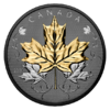 50 $ Dollar Maple Leaf Leaves in Motion Rodium + Gold Plated Kanada 5 oz Silber 2020 **