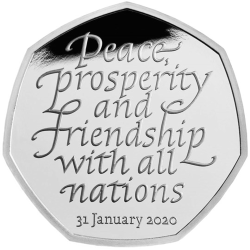 50 Pence Brexit - Withdrawal from the European Union Grossbritannien UK Silber PP 2020