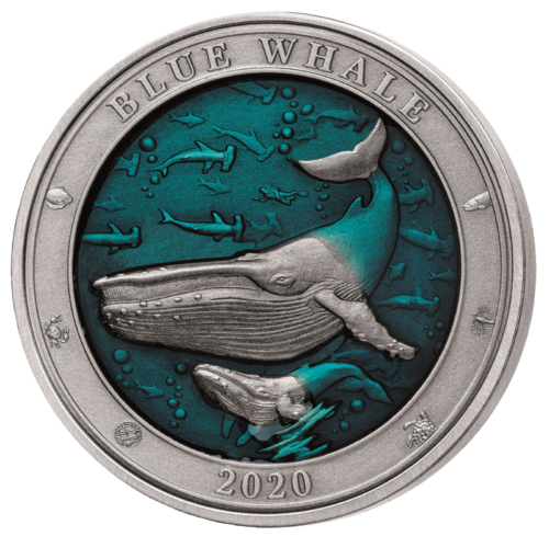 5 $ Dollar Underwater World - Blue Whale - Blauwal High Relief Barbados 3 oz Silber 2020