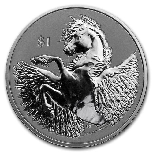 1 $ Dollar Pegasus British Virgin Islands 1 oz Silber 2020 Reverse Frosted Cameo BU **