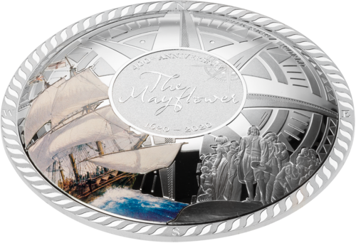 5 $ Dollar 400th Anniversary of the Mayflower Dome Shaped Solomon Islands 50 Gramm Silber 2020