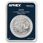 2 Pounds Silver Royal Arms Grossbritannien UK Apmex MintDirect® Premier 1 oz Silber 2020 **