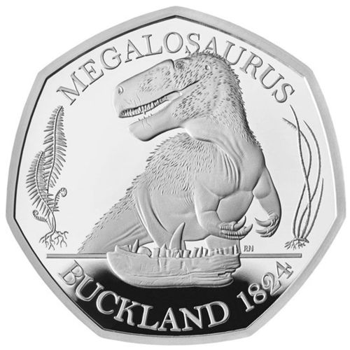 50 Pence Dinosauria - Dinosaurier Collection - Megalosaurus Grossbritannien UK Silber PP 2020