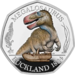 50 Pence Dinosauria - Dinosaurier Collection - Megalosaurus Colour Grossbritannien UK Silber PP 2020