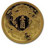Gold Long-Whiskered Dragon Dollar Restrike China 1 oz Gold Premium Uncirculated 2020