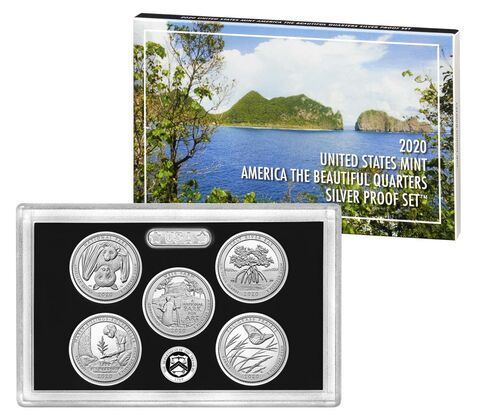 5 x 25 Cents America the Beautiful Quarters Silver Proof Set USA Silber PP 2020 **