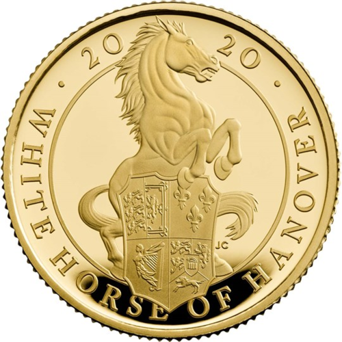 25 Pfund Pounds The Queen's Beasts The White Horse of Hanover Grossbritannien UK 1/4 oz Gold PP 2020