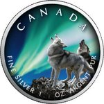 5 $ Dollar Maple Leaf Polar Lights - Polarlichter - Banff Nationalpark 1 oz Silber Kanada 2020 **